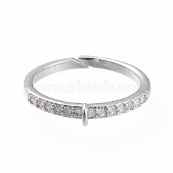 Brass Cuff Finger Ring Settings, Loop Ring Base, with Micro Pave Clear Cubic Zirconia, Long-Lasting Plated, Platinum, Size 7,  17mm, Hole: 1x1.5mm(KK-L155-34P)