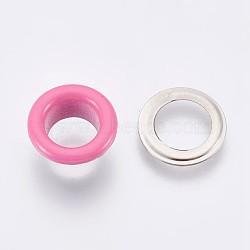 выводы люверса с железной втулкой, для изготовления пакетов, плоские круглые, платина, фламинго, 9.5x4.5 mm, Внутренний диаметр: 5 mm(IFIN-WH0023-E12)