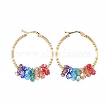304 boucles d'oreilles en acier inoxydable, avec des perles de verre à facettes, or, coloré, 42x33x2 mm; broches: 0.8x1.2 mm(EJEW-JE03572-01)