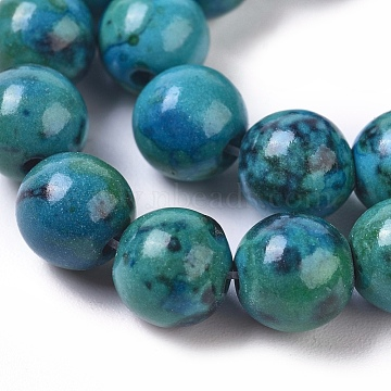 Synthetic Chrysocolla Beads Strands, Dyed, Round, 6mm, Hole: 0.8mm,14.76'(37.5 cm), about: 66 pcs/Strand(G-L529-B01-6mm)