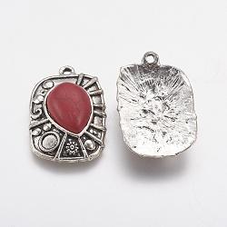 pendants en alliage de style tibétain, avec de la résine, rectangle, argent antique, firebrick, 35x24x8 mm, trou: 2 mm(PALLOY-J079-02AS)