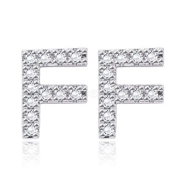 Brass Cubic Zirconia Stud Earrings, with Ear Nuts, Alphabet, Letter F, Clear, Platinum(EJEW-BB35118-F)