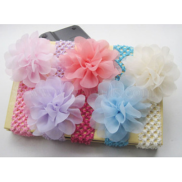 Cotton Elastic Baby Headbands, for Girls, Hair Accessories, with Rhinestone, Flower, Mixed Color, 300x40mm(OHAR-S197-043)