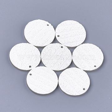 Resin Pendants, Flat Round, Creamy White, 34.5x4mm, Hole: 2mm(X-RESI-S374-04B-10)