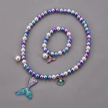 Plastic Imitation Pearl Stretch Bracelets and Necklace Jewelry Sets, with Mermaid Tail Shape Resin Pendants and Alloy Enamel Pendants, Whale Tail Shape, Shell, Medium Orchid, 1-5/8 inches(4cm), 15.7 inches(40cm)(SJEW-JS01053-02)