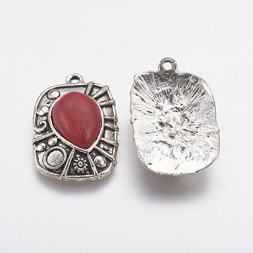 Tibetan Style Alloy Pendants, with Resin, Rectangle, Antique Silver, FireBrick, 35x24x8mm, Hole: 2mm(PALLOY-J079-02AS)