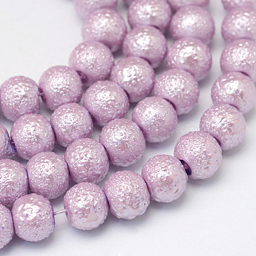 Baking Painted Textured Glass Pearl Round Bead Strands, Thistle, 10~11mm, Hole: 1.5mm; about 85pcs/strand, 31.4 inches(X-HY-Q002-10mm-41)