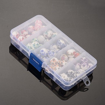 Handmade Porcelain Beads, Round, Mixed Style, Mixed Color, 12mm, Hole: 3mm, 5pcs/compartment, 50pcs/box(PORC-X0003-B)