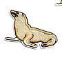 компьютеризированная вышивка тканью из железа / шов на патчах, аксессуары костюма, аппликация, морской лев, blanchedalmond, 40x65 mm