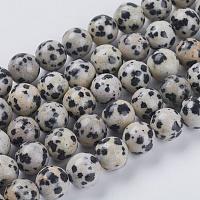 Chapelets de perles en jaspe de dalmation naturelle, ronde, 8mm, trou: 1mm; environ 24 pcs/chapelet, 7.6 pouces