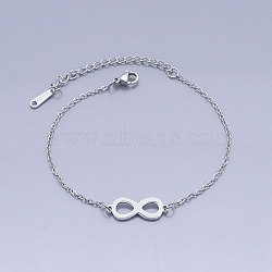 201 Stainless Steel Link Bracelets, with Lobster Claw Clasps, Infinity, Stainless Steel Color, 6-3/4 inches~6-7/8 inches(17.2~17.3cm)(BJEW-T011-JN501-1)