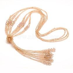 """Billes de verre colliers de lasso, avec des perles de rocaille, peachpuff, 44.8""""(NJEW-O059-04E)"""