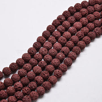Natural Lava Rock Round Bead Strands, Dyed, Dark Red, 8mm, Hole: 1mm; about 50pcs/strand, 15.7 inches(X-G-I124-8mm-06)