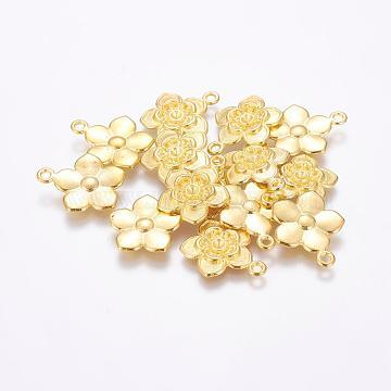 Tibetan Style Flower Pendant Rhinestone Settings, Golden, Lead Free & Cadmium Free; 20x17x3mm, Hole: 2mm(EAAA008Y-G)