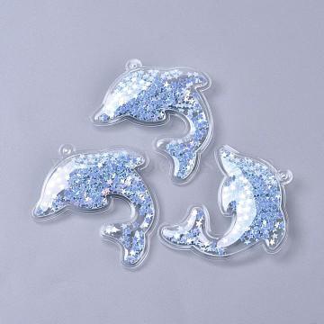 PVC Plastic Big Pendants, with Paillette/Sequin Inside, Dolphin, Light Sky Blue, 60x54x6mm, Hole: 3mm(X-KY-K008-D03)