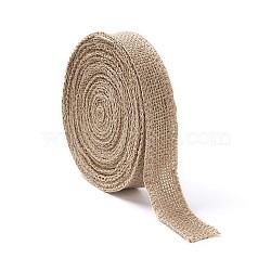 Braided Burlap Ribbon, Hessian Ribbon, Jute Ribbon, For Jewelry Making, Tan, 1 inches(25mm)(OCOR-TAC0001-01A)