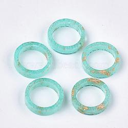 кольца из эпоксидной смолы, золотой фольгой, светящиеся / светящиеся в темноте, mediumaquamarine, Размер 7, 17 mm(RJEW-T007-01B-01)