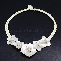 Natural Flower Pearl Beads Bib Statement Necklaces, with Pearl Shell and Botton Clasps, LightGoldenrodYellow, 20inches(NJEW-P117-06A)