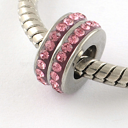 Chapelets de perle avec grand trou de colonne en 316 acier inoxydable, avec argile polymère strass, rose, 10x5mm, Trou: 5mm(STAS-R082-AA104-6)