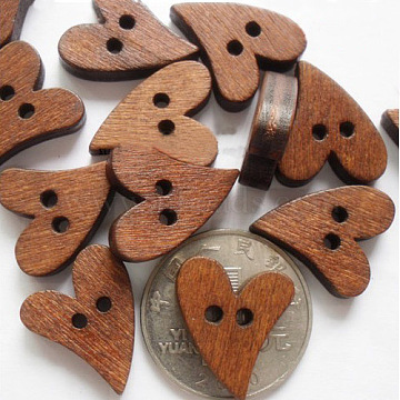 Heart Shaped Paint Buttons , Wooden Buttons, Sienna, about 20mm long, 16mm wide,Hole:2mm, 100pcs/bag(NNA1136)