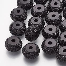 Бусины со стразами из смолы, рондель, чёрные, 12x6.5 мм, отверстие : 2 мм(RESI-T020-01D-01)
