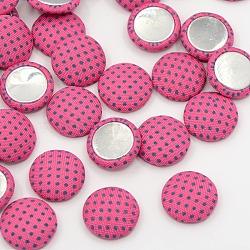 Scrapbook embellishments accessoires de vêtement flatback cabochons couverts de tissu à pois demi-dôme, avec fond en aluminium, de couleur métal platine , fuchsia, 14.5x4mm(X-WOVE-F011-03)
