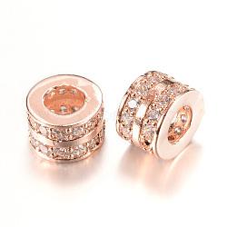Perles européennes en laiton avec zircone cubique de micro pave, Perles avec un grand trou   , colonne, or rose, 9x6mm, Trou: 4.5mm(ZIRC-Q002-68RG)