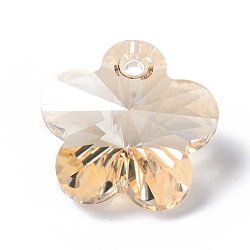 Austrian Crystal Pendants, Flower, GSHA_Crystal Golden Shadow, Size: about 18mm in diameter, 9.5mm thick, hole: 2mm(X-SWAR-6744-GS)