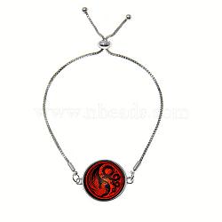 """Bracelets réglables en alliage de zinc et verre, avec des chaînes de fer, plat rond avec motif phénix et dragon, rouge, 9"""" (23 cm)(BJEW-P250-SE037)"""