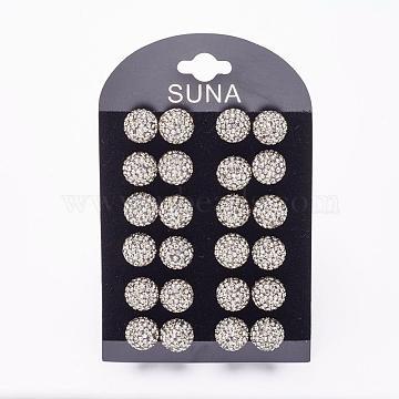 12mm Sterling Silver+Austrian Crystal Stud Earrings