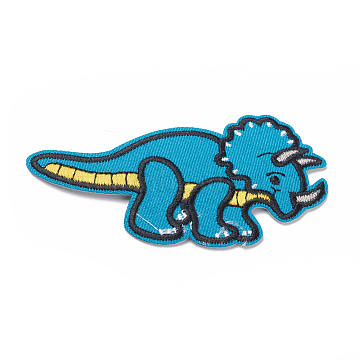 Computerized Embroidery Cloth Iron on/Sew on Patches, Costume Accessories, Appliques, for Backpacks, Clothes, Dinosaur, Deep Sky Blue, 50x95x2mm(X-DIY-I024-02)