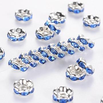 6mm SkyBlue Rondelle Brass + Rhinestone Spacer Beads