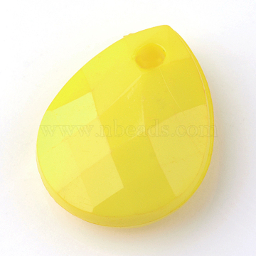 Opaque Acrylic Charms, Teardrop, Faceted, Yellow, 15x12x5mm, Hole: 2mm(X-SACR-Q130-C17)