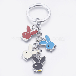 Fashion Enamel Keychain, with Iron Ring and Alloy Pendant, ring: about 33mm in diameter, 3mm thick; pendant: about 18mm wide, 22mm long, 2mm thick(AKC015)