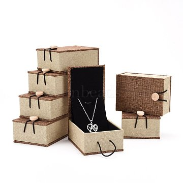 Rectangle Wooden Pendant Necklace Boxes , with Burlap and Velvet, Camel, 10.5x7.4x5.1cm(OBOX-N013-03)