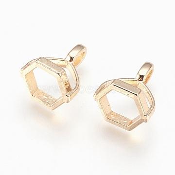 Brass Hexagon Bead Cap Bails, for Point Gemstone Pendant Making, Lead Free & Cadmium Free & Nickel Free, Long-Lasting Plated, Golden, 15.5x13x11mm, Hole: 2.5x4.5mm(KK-P150-19G)