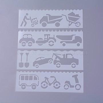 Plastic Drawing Stencil, Hollow Hand Accounts Ruler Templat, For DIY Scrapbooking, Automobile, White, 186x56x0.3mm, about 8pcs/set(DIY-P003-J08)