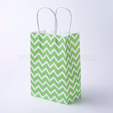 kraft Paper Bags, with Handles, Gift Bags, Shopping Bags, Rectangle, Wave Pattern, Green, 21x15x8cm(CARB-E002-S-N01)
