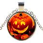 стеклянные ожерелья на Хэллоуин, сплава с выводами, плоские круглые с тыквой, серебро, 17.7 (45 см); подвеска: 27 мм