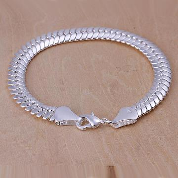 Unisex Brass Snake Chain Bracelets, with Lobster Clasps, Silver Color Plated, 215x10mm(BJEW-BB12591)