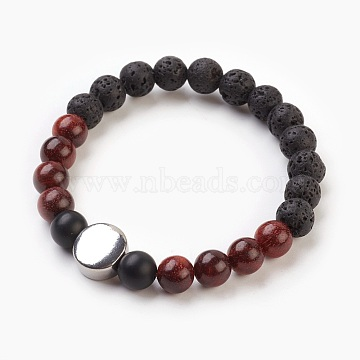 Natural Sandalwood, Lava Rock & Frosted Black Agate Beads Stretch Bracelets, with 304 Stainless Steel Beads, Flat Round, 2-1/8 inches(5.5cm)(X-BJEW-JB03821-05)