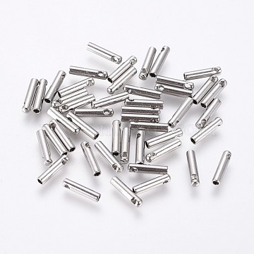 304 Stainless Steel Cord Ends, End Caps, Column, Stainless Steel Color, 7x1.6mm, Hole: 0.8mm, Inner Diameter: 1mm(STAS-K190-01A-P)