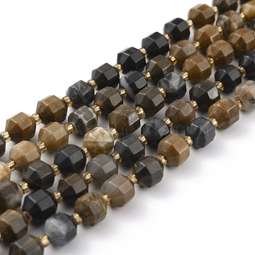Natural Petrified Wood Beads Strands, Faceted, with Seed Beads, Polygon, 8x6mm, Hole: 1.2mm, about 40pcs/strand, 14.96 inches(38cm)(G-B010-01)