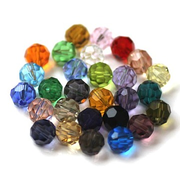 Imitation Austrian Crystal Beads, Grade AAA, Faceted, Round, Mixed Color, 10mm, Hole: 0.9~1mm(SWAR-F021-10mm-M)