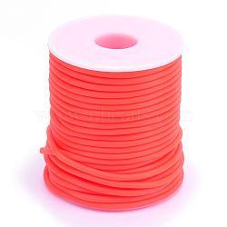 Tuyau creux corde en caoutchouc synthétique tubulaire pvc, enroulé aurond de plastique blanc bobine, orange rouge , 2mm, trou: 1 mm; environ 50 m / rouleau(RCOR-R007-2mm-04)