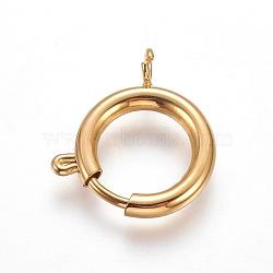304 пружинные кольца из нержавеющей стали, плоские круглые, золотой, 23x20x3 mm, отверстия: 3 mm(STAS-P234-47G)