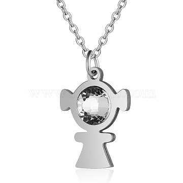 201 Stainless Steel Pendant Necklaces, with Rhinestone and Cable Chains, Girl, Stainless Steel Color, 15.7 inches(40cm); 1.5mm; Girl: 19x14x4mm(NJEW-T009-JN143-40-1)