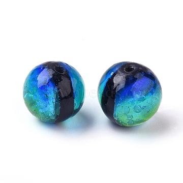 Handmade Silver Foil Glass Lampwork Beads, Round, DodgerBlue, 10mm, Hole: 1.2mm(X-LAMP-P051-M02-10mm)