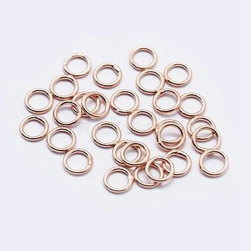 925 Sterling Silver Round Rings, Soldered Jump Rings, Rose Gold, 5x0.6mm, Inner Diameter: 3.5mm(STER-F036-03RG-0.6x5)