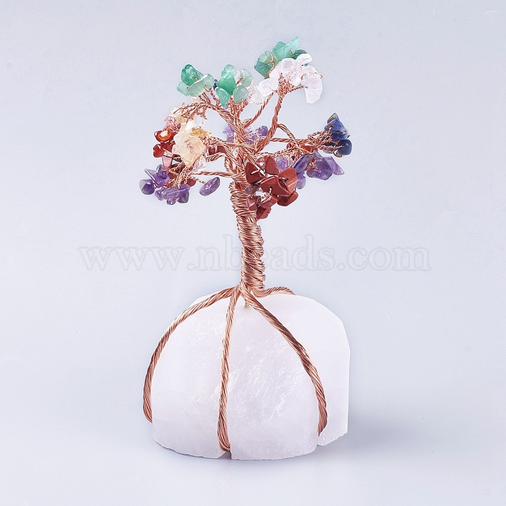Natural Quartz Crystal And Mixed Gemstone Display Decorations Home Decorations With Brass Wires Lucky Tree 77x69mm